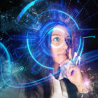 Cyber interface near eye of woman